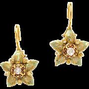 "Otto Jakob 18K Gold Polychrome Enamel & Diamond ""Stapelia"" Earrings"