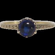 Edwardian White and Yellow 14 Karat Gold Sapphire Ring