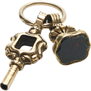 Georgian Era 12KT Bloodstone Watch Fob with Key
