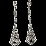 Edwardian Sterling Silver Hand-Cut Paste Earrings
