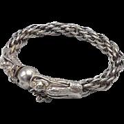 Vintage Sterling Silver Dragon & Ball Link Bracelet
