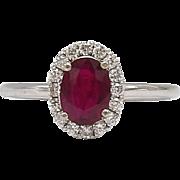 Vintage Natural Ruby Gem & 14 KT White Gold Ring