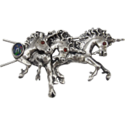 Vintage Renaissance Faire Sterling Silver Unicorn Hair Barrette