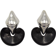 Vintage Von Musulin Ebony and Sterling Silver Earrings