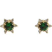 14KT Gold, Emerald & Diamond Earrings