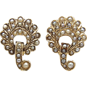 Victorian 14KT Yellow Gold & Pearl Earrings