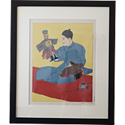 Hand Painted Jacoulet WoodBlock Print from Japan, 1930