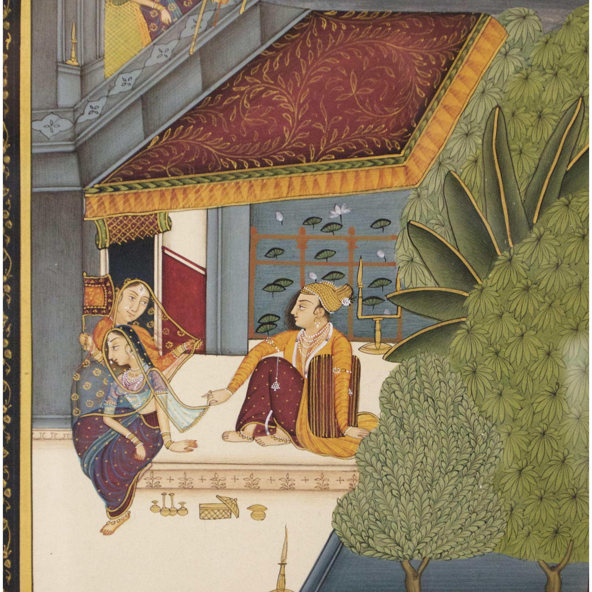 Indian Miniature Gouache Painting From 1920s From