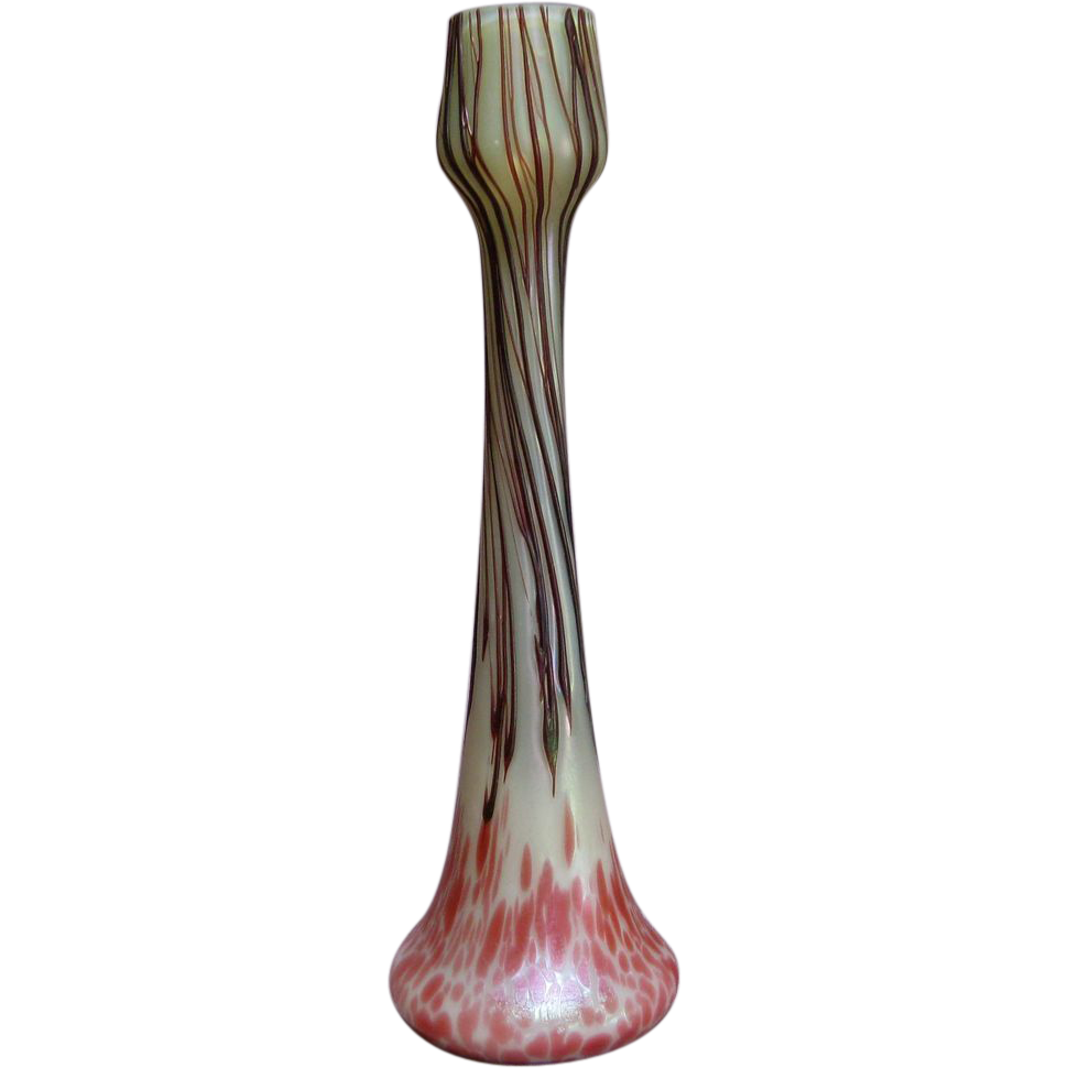 Kralik helios iridescent art glass bud vase with purple kralik helios iridescent art glass bud vase with purple threading kirstens corner ruby lane reviewsmspy