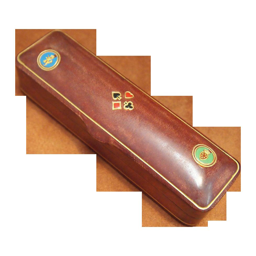 Vintage Italian Leather Dice Box, circa 1950