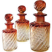 Baccarat Amberina Rose Tiente Glass Scent Bottles, Set of 3