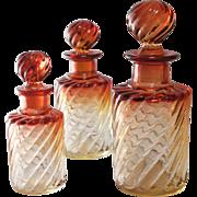 Baccarat Amberina Rose Tiente Glass Scent Bottles, Set of 3