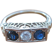 Art Deco 14K Gold Three Stone Diamond and Sapphire Ring