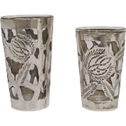 Vintage Mexican Sterling Silver His and Hers Shot Glasses