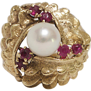 18kt Gold, Ruby, and Pearl Cocktail Ring