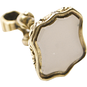 Ornate 12KT Gold White Rock Crystal Fob