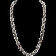 Vintage Sterling Silver Rope Link Necklace