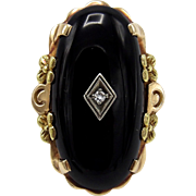 Vintage Art Deco Black Onyx Diamond 10KT Gold Ring
