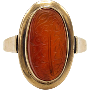 Victorian Carnelian Intaglio Arabic Ring in 14K Gold
