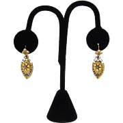 Gorgeous 10KT Gold Taille d'Epargne Victorian Earrings