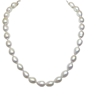 "17 1/2"" Single Strand of White Baroque Tahitian Cultured Pearls with Sterling Silver Clasp"
