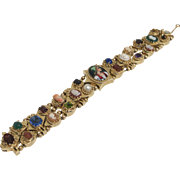14K Gold Double Row Slide Victorian Bracelet with Cameo Gemstones
