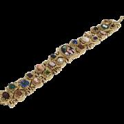14K Gold Double Row Slide Victorian Bracelet with Cameo Gemstones