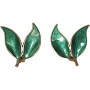 Vintage Andersen Green Enamel and Sterling Silver Leaf Earrings