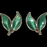 Vintage Andersen Green Enamel and Sterling Silver Leaf Earrings