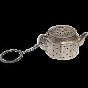 Vintage Sterling Silver Tea Strainer Miniature Teapot
