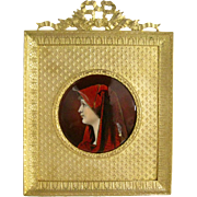 French Limoges Enamel Portrait of St. Fabiola in Bronze Frame