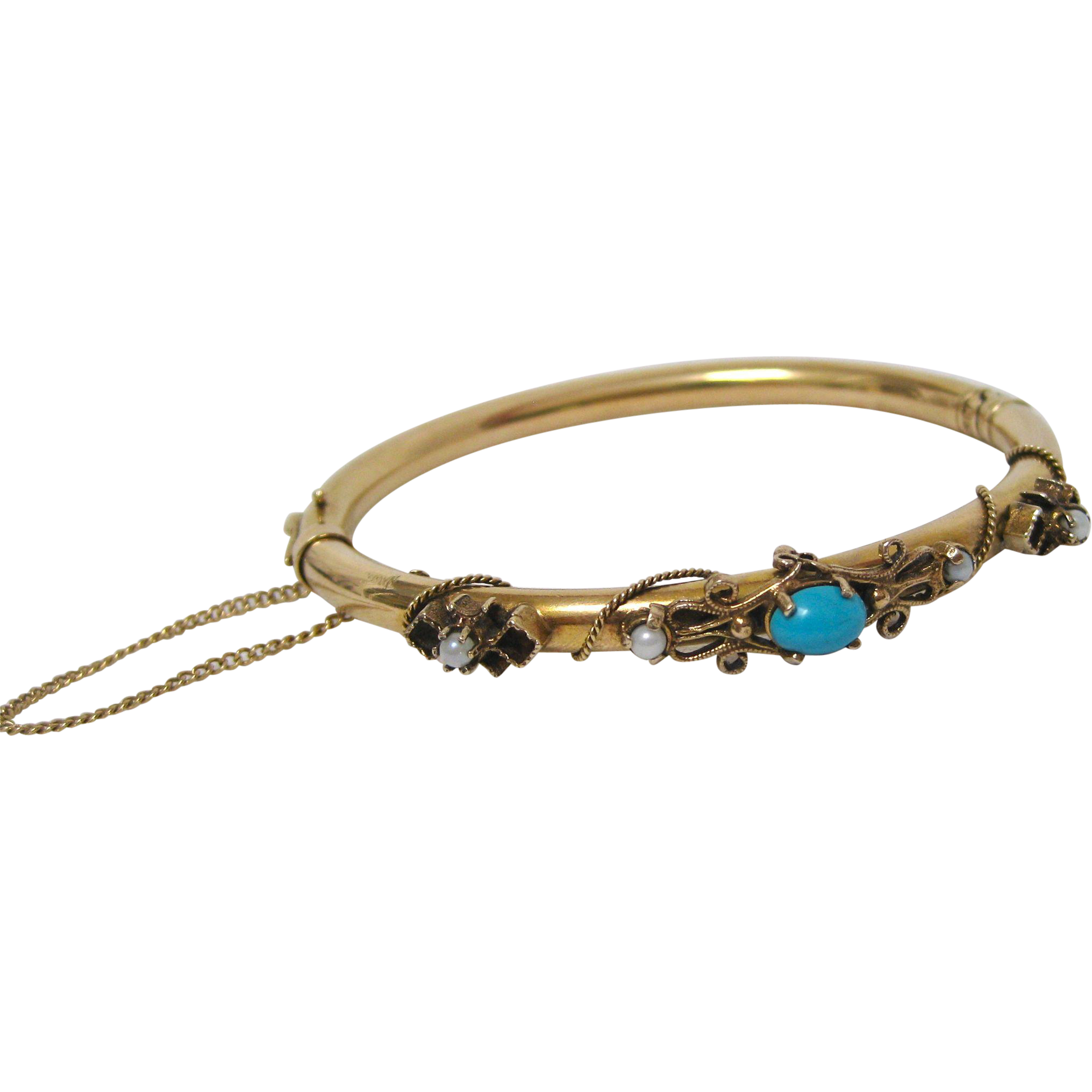 Victorian 14 K Yellow Gold Persian Turquoise And Pearl Bracelet