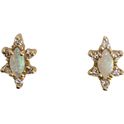 14 KT Gold Opal and Diamond Snowflake Earrings