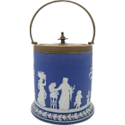Blue Wedgwood Jasperware Biscuit Jar