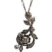 Georgian Sterling Silver & Gold Back Diamond Flower Pendant