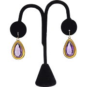 15KT Gold and Amethyst Victorian Earrings