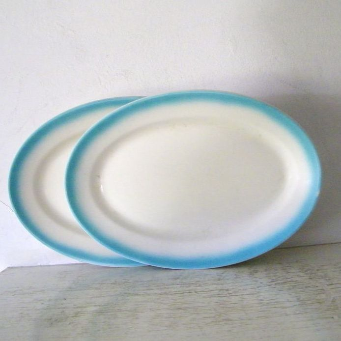 2 Large Turquoise and White Jackson China Oval Serving Plates