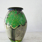 Signed Art Glass Vase Tree Motif by Bendzunas