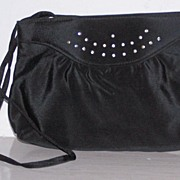 Black Sateen & Rhinestone Shoulder/Clutch