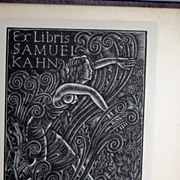 Semi Nude Woman Woodblock bookplate Ex Libris Eric Gill