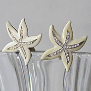 Large Bold Vintage Kenneth Lane signed star fish crystal earrings