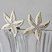 Large Bold Vintage Kenneth Lane signed star fish crystal earrings