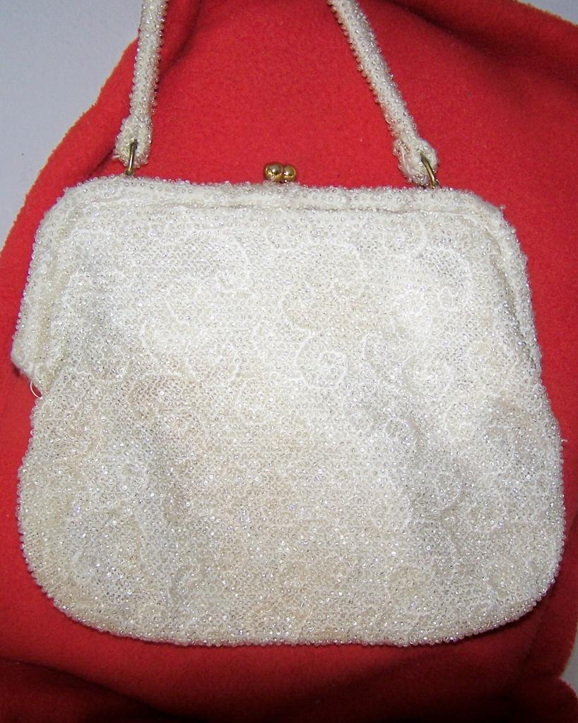 Vintage White Beaded Handbag  Great for a Wedding