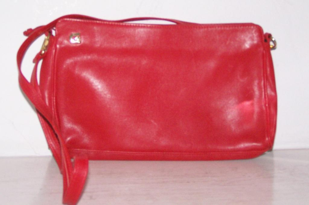Ganson Red Leather Handbag shoulder / clutch from kitchengarden on ...