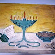 Original Oil Painting on Canvas Board Menorah Dreidel Judaica