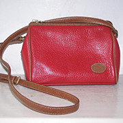 Liz Claiborne  Red Pebbled Leather Shoulder Bag