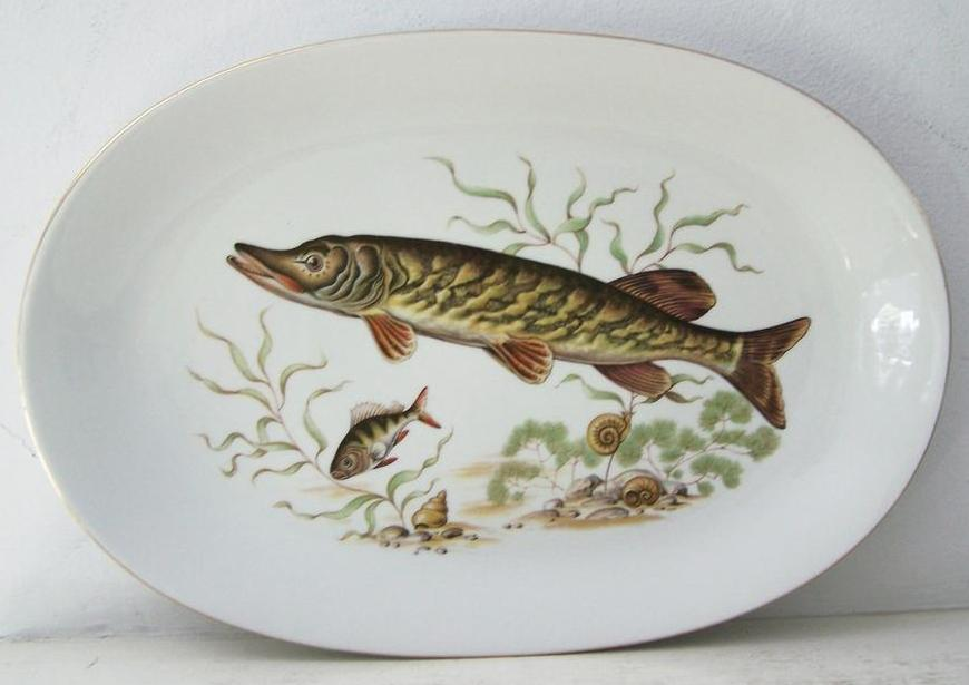 Large Bareuther Bavaria German Fish Platter Gold Rim  Mint condition