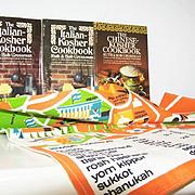 Signed Dan Reisinger Jewish Holiday Towel plus 2  Kosher Cookbooks