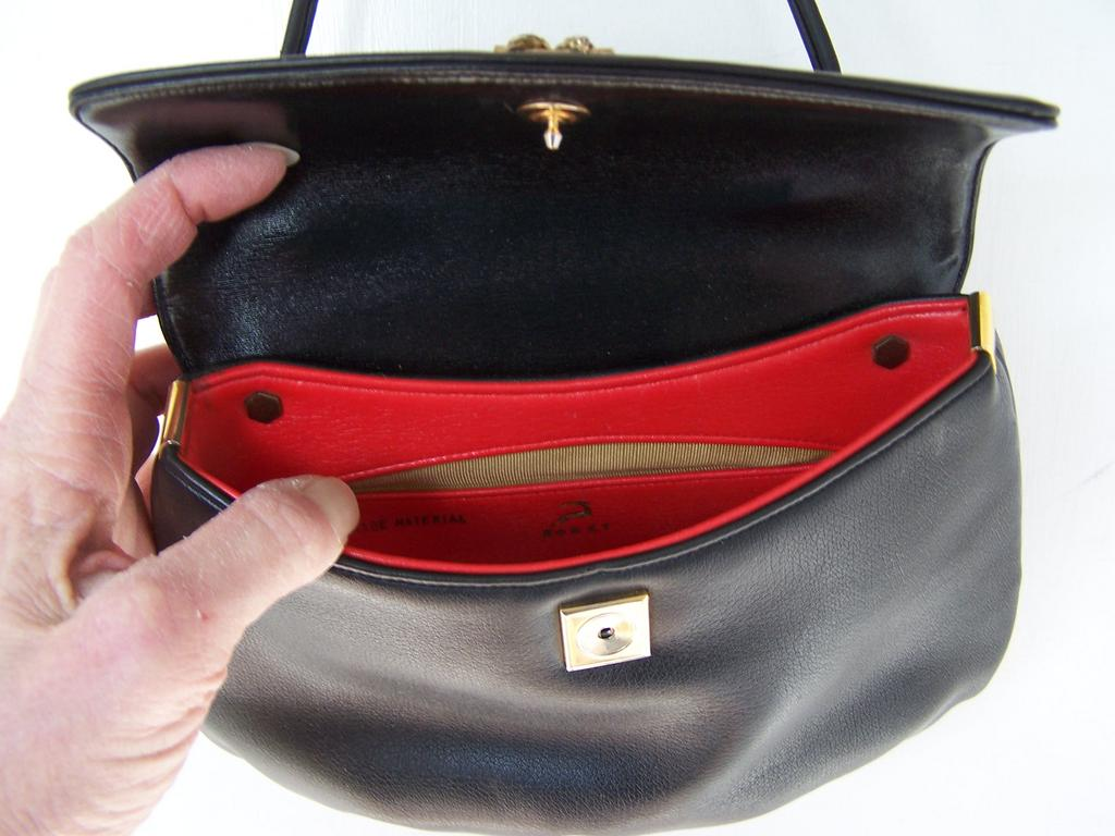 Black Koret Shoulder Bag Lined in Lipstick Red Mint!