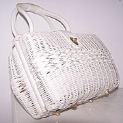 Double sided Rattan Leather Satchel handbag British Hong Kong